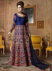 Ethnic Style Marvelous Blue Color Floor Length Embroidered Anarkali Suit
