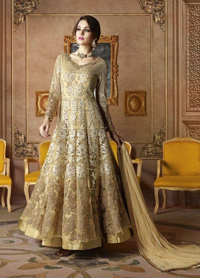 Marvelous Beige Color Net Embroidered Anarkali Suit