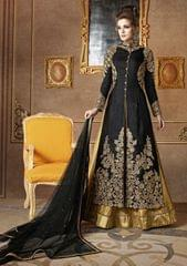 Ethnic Style Black & Beige color Raw Silk Bollywood style Suit