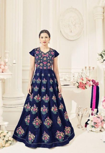 Ethnic Style  Blue Color Anarkali Style Floor Length Suit