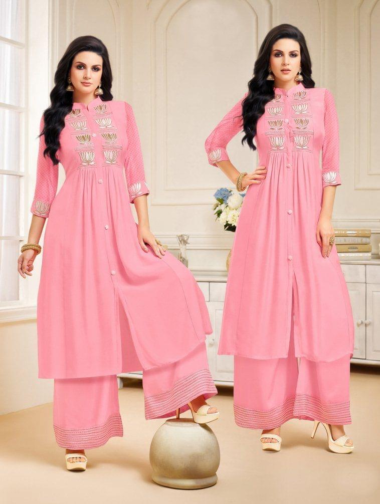 Pink Color Designer Semi Stitched Suit 25151