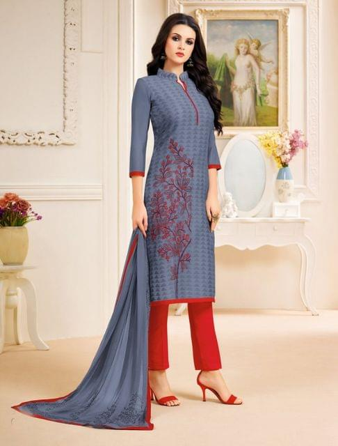 Grey Color Designer Semi Stitched Suit 25152