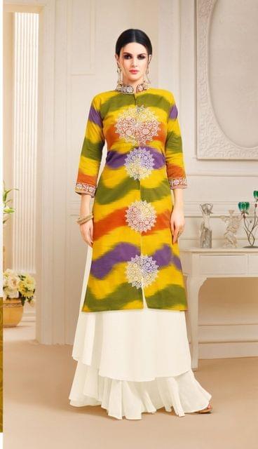 Multi Color Designer Semi Stitched Suit 25153