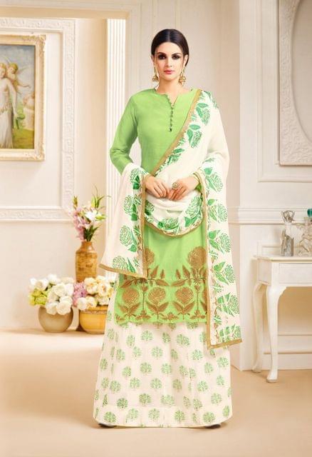 Parrot Green Color Designer Semi Stitched Suit 25155