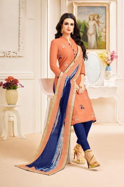 Orange Color Designer Semi Stitched Suit 25156