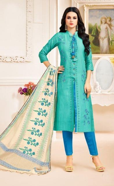 Green Color Designer Semi Stitched Suit 25158