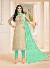 Cream Color Designer Semi Stitched Suit 25160