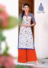 White Color Cotton Printed Kurti rmgwhi-307