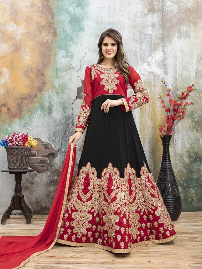 Red & Black Color Heavy Designer Semi Stitched Suit 22886
