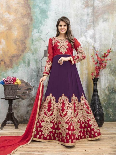 Red & purple Color Heavy Designer Semi Stitched Suit 22887