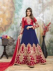 Red & Blue Color Heavy Designer Semi Stitched Suit 22888