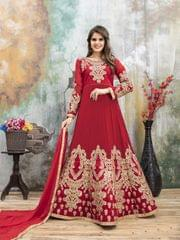 Red Color Heavy Designer Semi Stitched Suit 22889