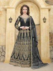 Black Color Heavy Designer Semi Stitched Suit 22890