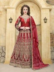 Red Color Heavy Designer Semi Stitched Suit 22893