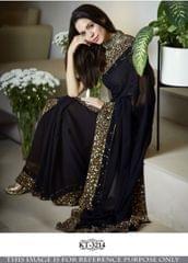 Black Color Georgette Silk  Saree KT-3214