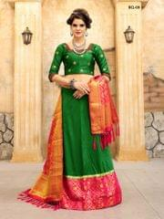 Green & Pink Color Soft Tifi Silk Lehenga Choli BCL-09
