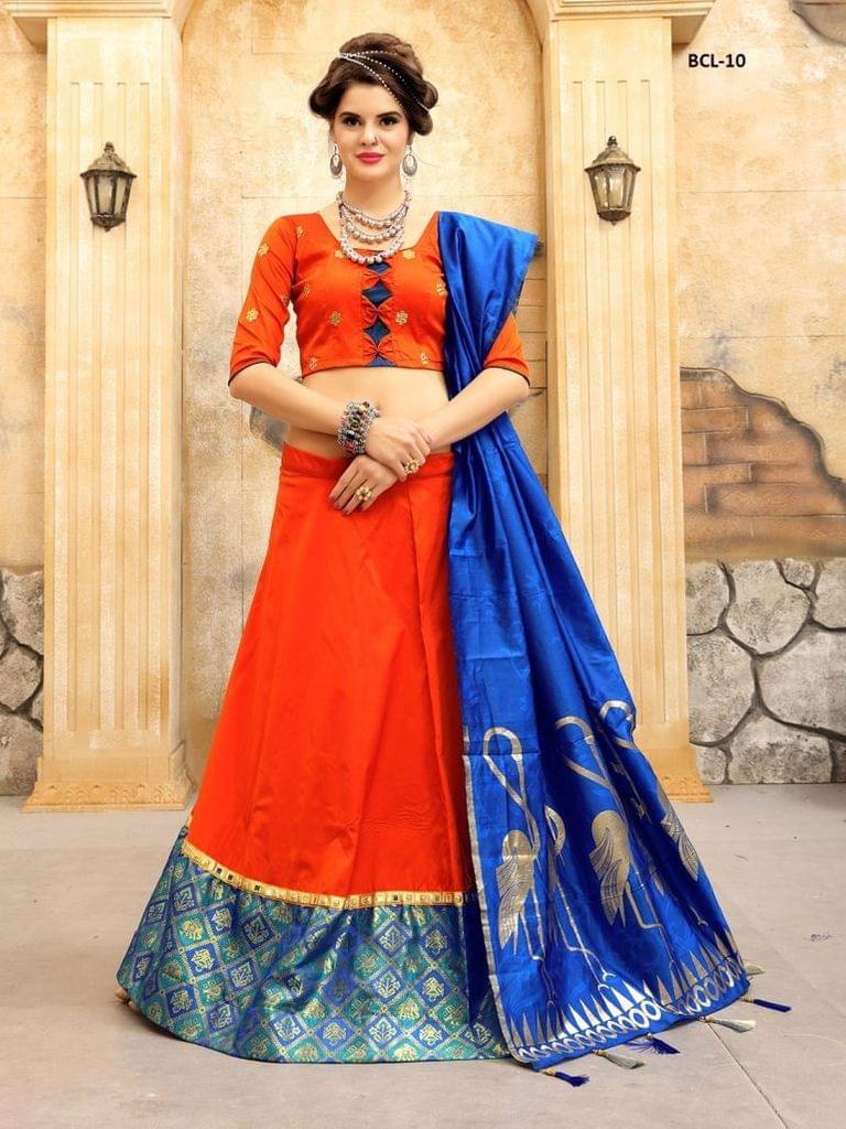 Orange & Blue Color Tifi SilkLehenga Choli  BCL-10