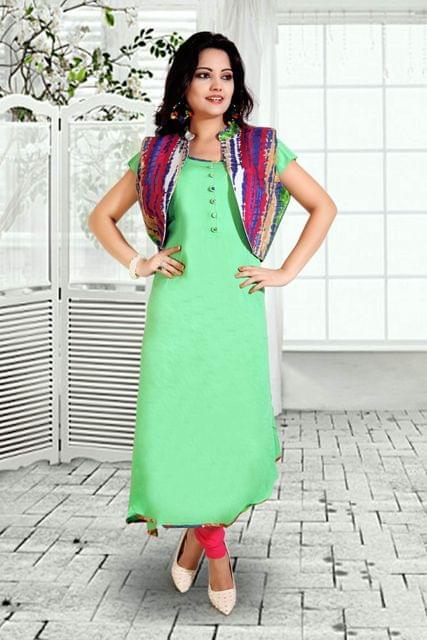 Pista Green Color Designer Readymade Kurti 24747
