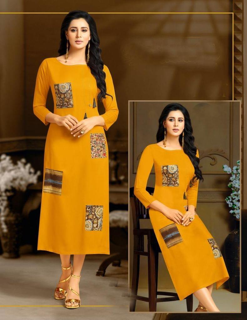 Yellow Color Rayon Readymade Kurti25189