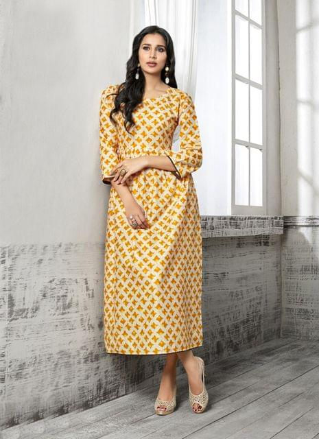 Maroon & Beige Color Cotton Readymade Kurti 25183