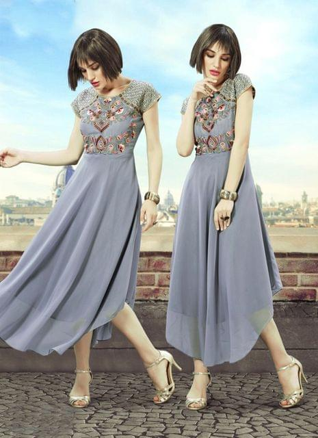 Grey Color Georgette Readymade Kurti 25125