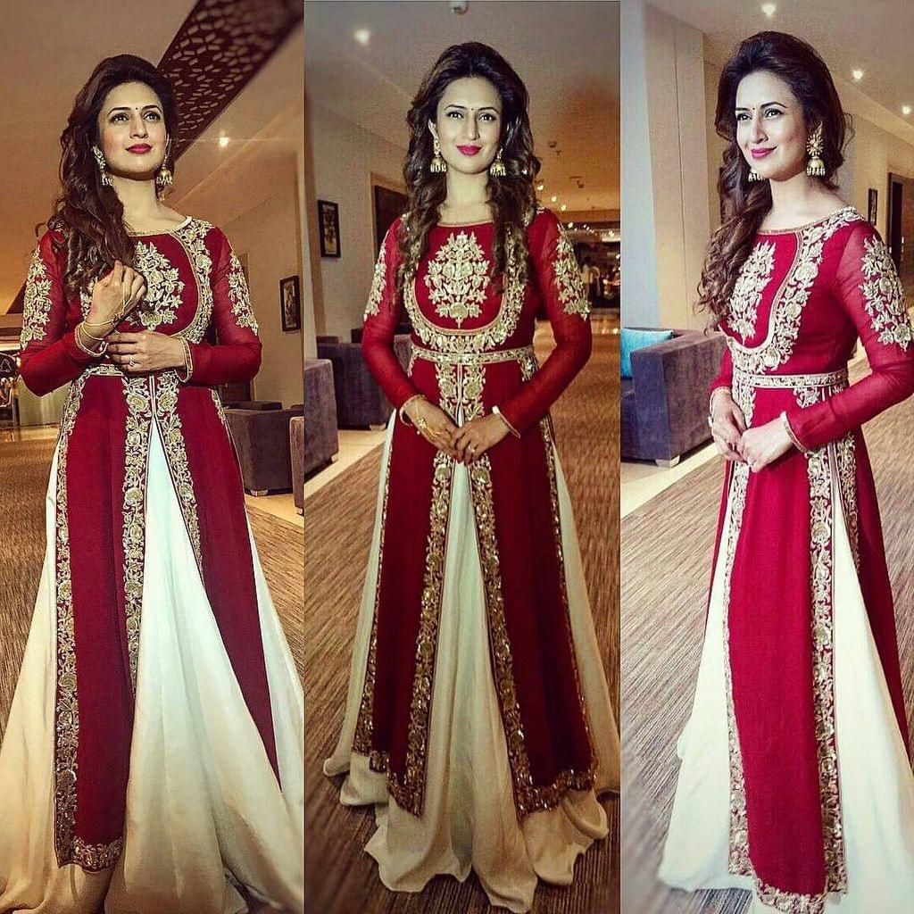 White & Red Color Georgette Anarkali Salwar Suit  Suit