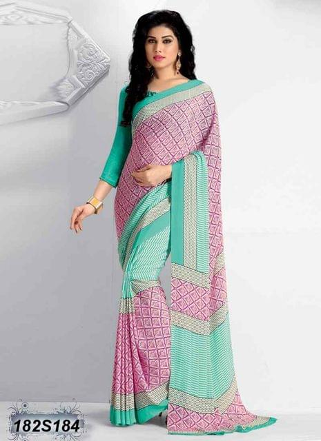 Pink & Green Color Italian Crepe Saree 182S184