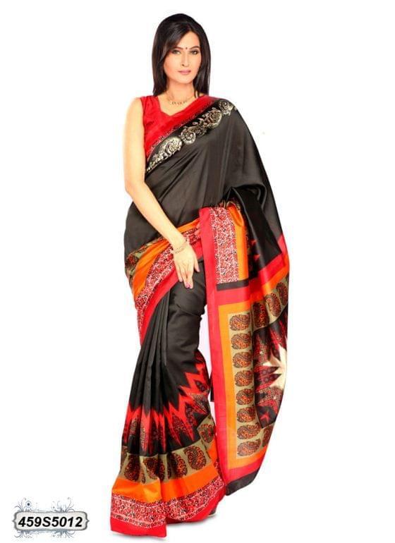 Black & Multi Color Art Silk Saree 459S5012