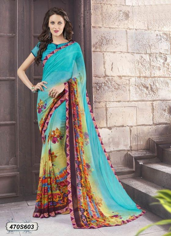 Blue & Multi Color  Georgette  Saree 470S603
