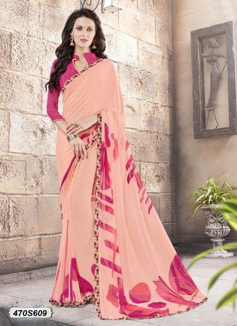 Peach & Pink Color  Georgette  Saree 470S609