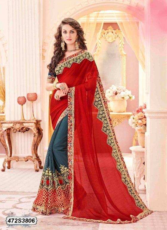 Red Color Chiffon Saree 472S3806