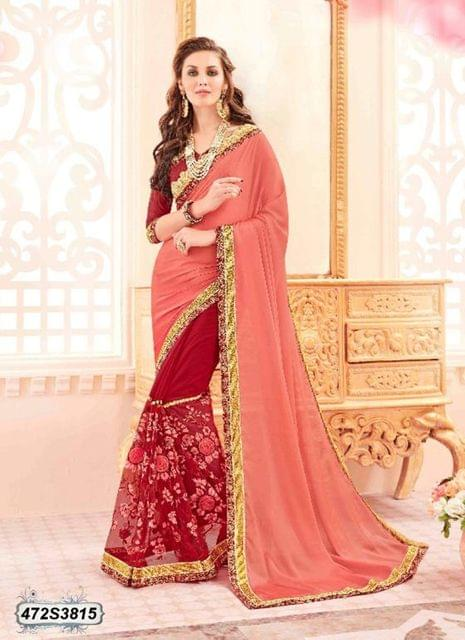 Peach Color  Georgette  Saree 472S3815
