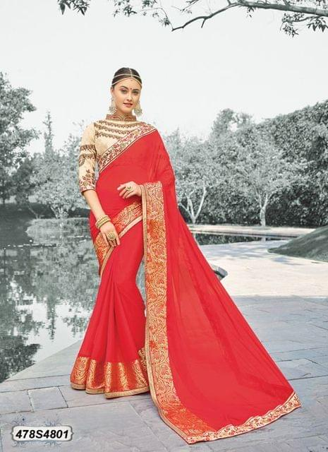 Red Color Viscose  Georgette  Saree 478S4801