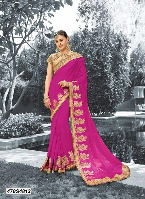 Pink Color Viscose  Georgette  Saree 478S4812