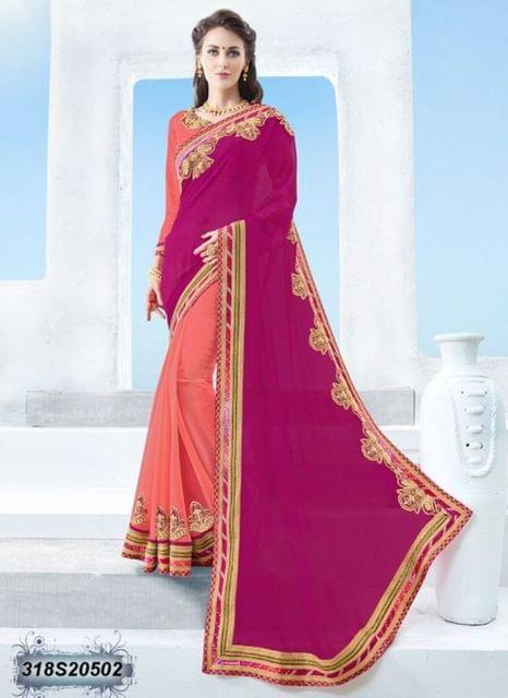 Pink Color Moss Chiffon Saree 318S20502