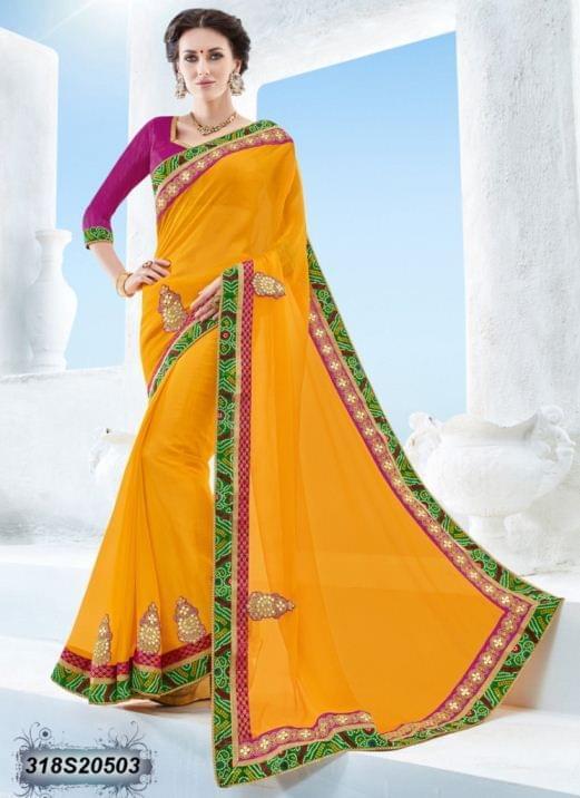 Yellow Color Twill Chiffon Saree 318S20503