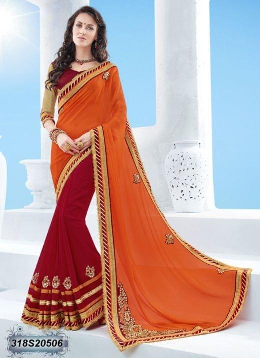 Orange Color Moss Chinon Saree 318S20506