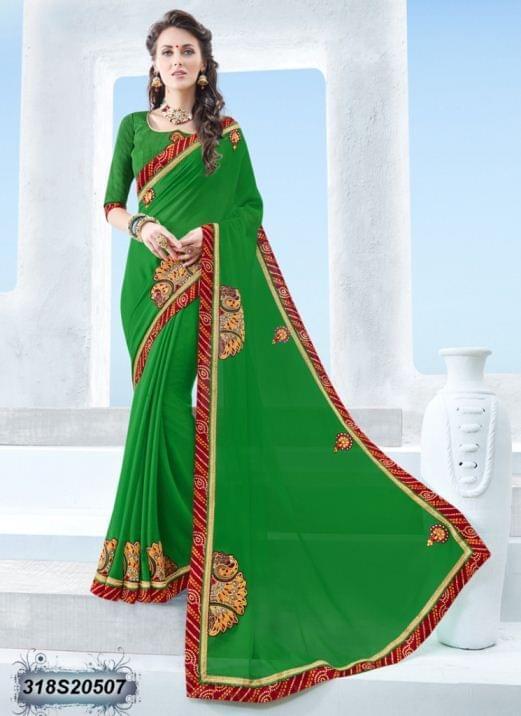 Green Color Twill Chiffon Saree 318S20507