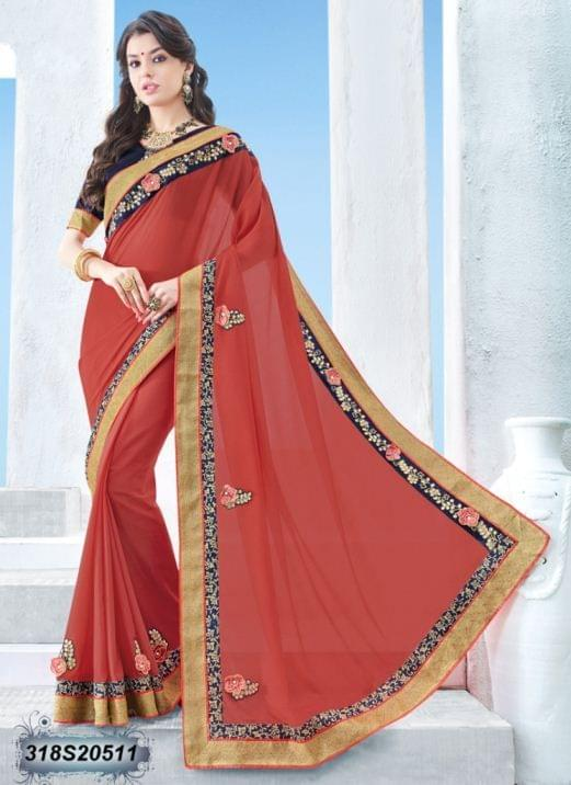 Red Color Chinon Pattern Saree 318S20511
