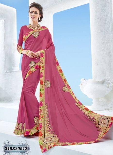 Pink Color Bridal Chiffon Saree 318S20512