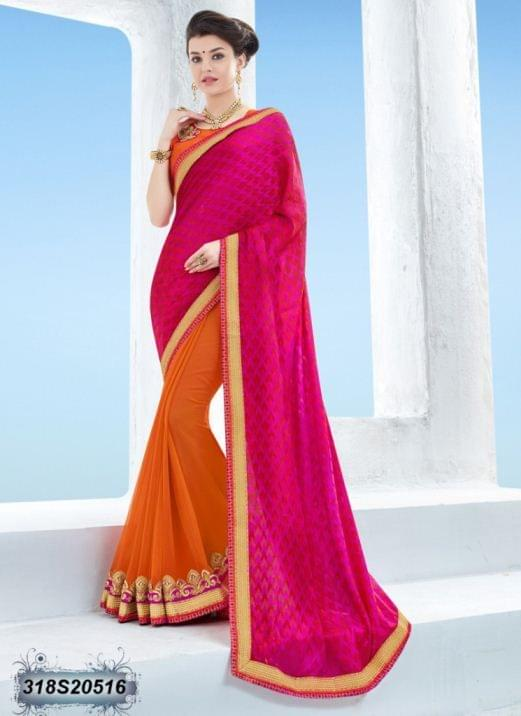 Pink Color Two Tone Jacquard Saree 318S20516