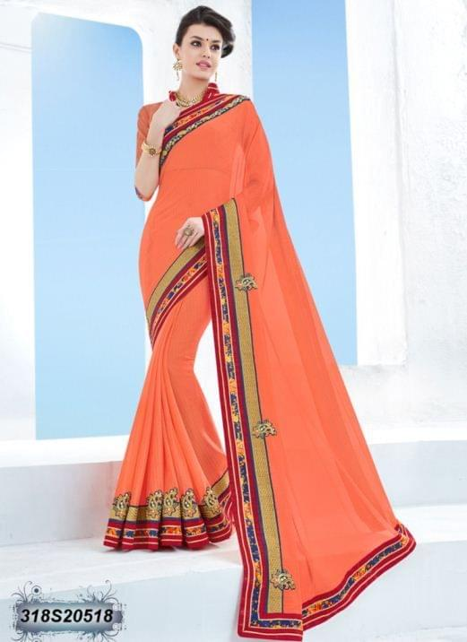 Orange Color Kesnika Chiffon Saree 318S20518