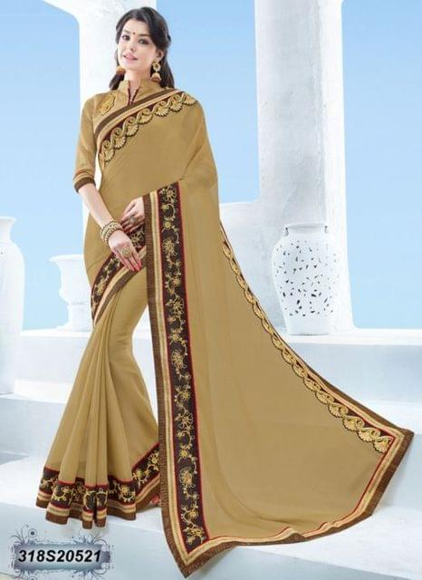 Beige Color Moss Chiffon Saree 318S20521