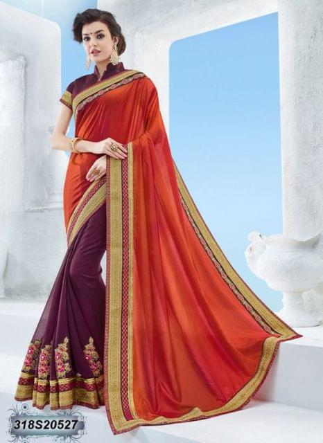 Orange Color Paper Silk Saree 318S20527
