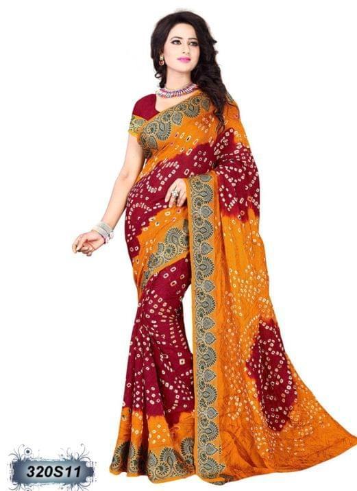 Red & Yellow Color Art Silk Saree 320S11