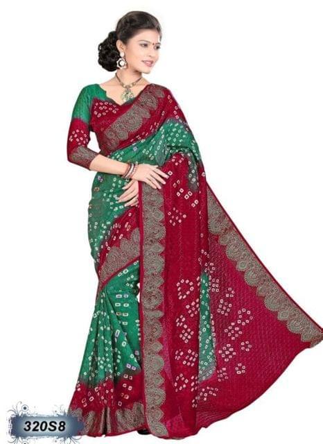 Pink & Green Color Art Silk Saree 320S8