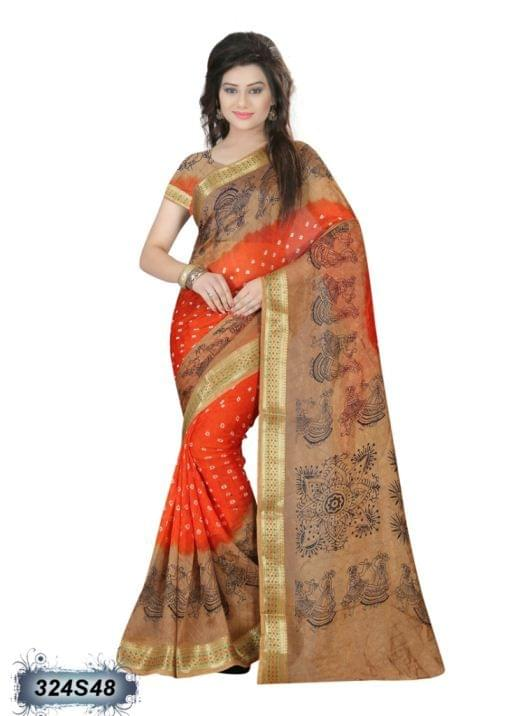 Orange & Beige Color Art Silk Saree 324S48