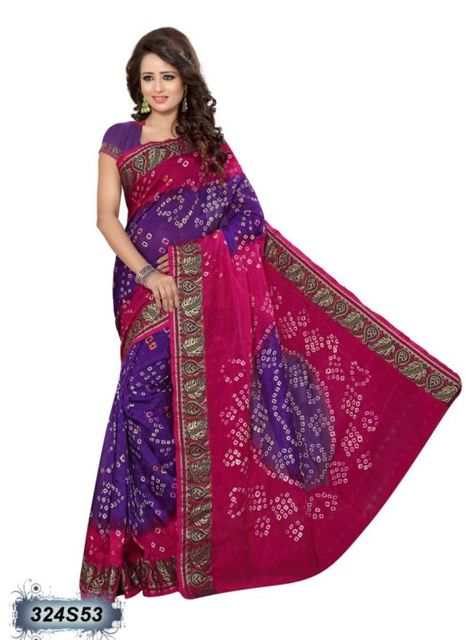 Purple & Pink Color Art Silk Saree 324S53