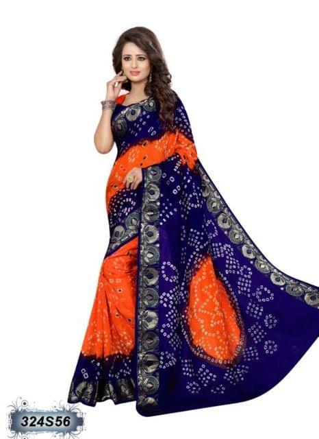 Blue & Orange Color Art Silk Saree 324S56