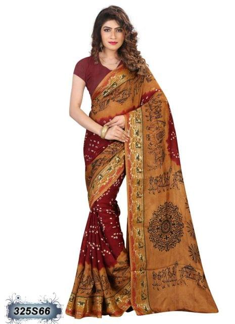 Brown & Maroon  Color Art Silk Saree 325S66
